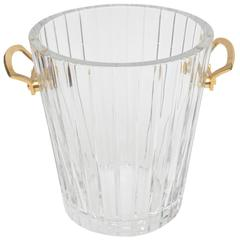 French Baccarat Ribbed Crystal and Polished Brass Ice Bucket
