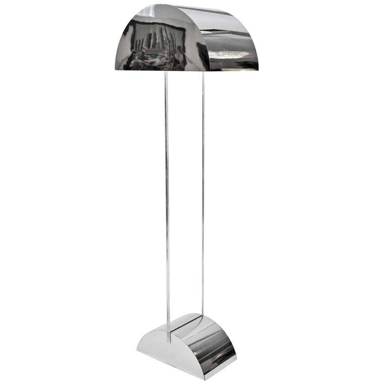 George Kovacs 1970s Polished Chrome and Lucite Floor Lamp
