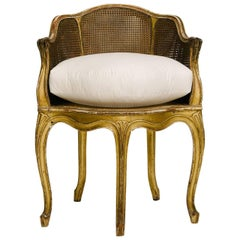 19th Century Gilded Louis XV Style Bergere