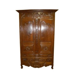 Armoire  18th Century French Oak Cabinet with Drawers