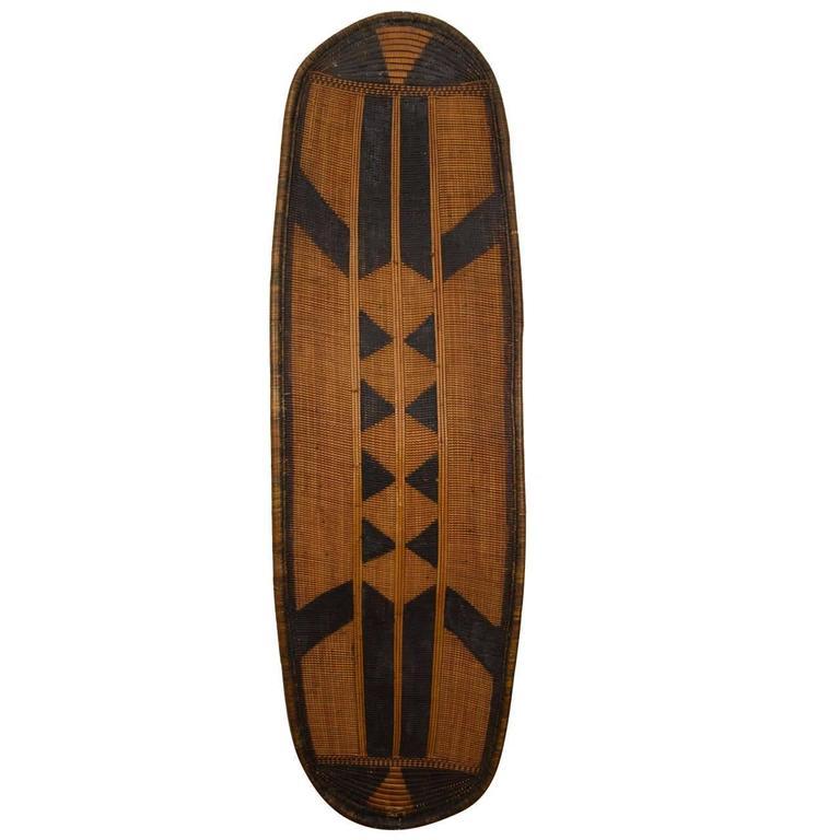 Early 20th Century African Poto Tribal Wicker Shield, Congo 1