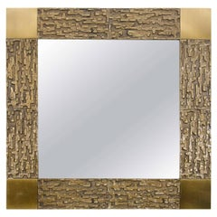 Square Bronze Mirror with Relief Surround and Brass Detail