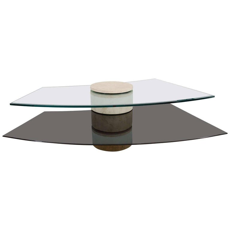 Adjustable Travertine, Wood and Glass Coffee Table For Sale