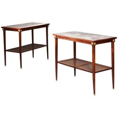 Pair of French Neoclassical Mahogany and Marble Side Tables