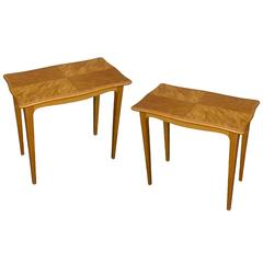 Pair of Mid-Century Finnish End Tables in Blonde Wood