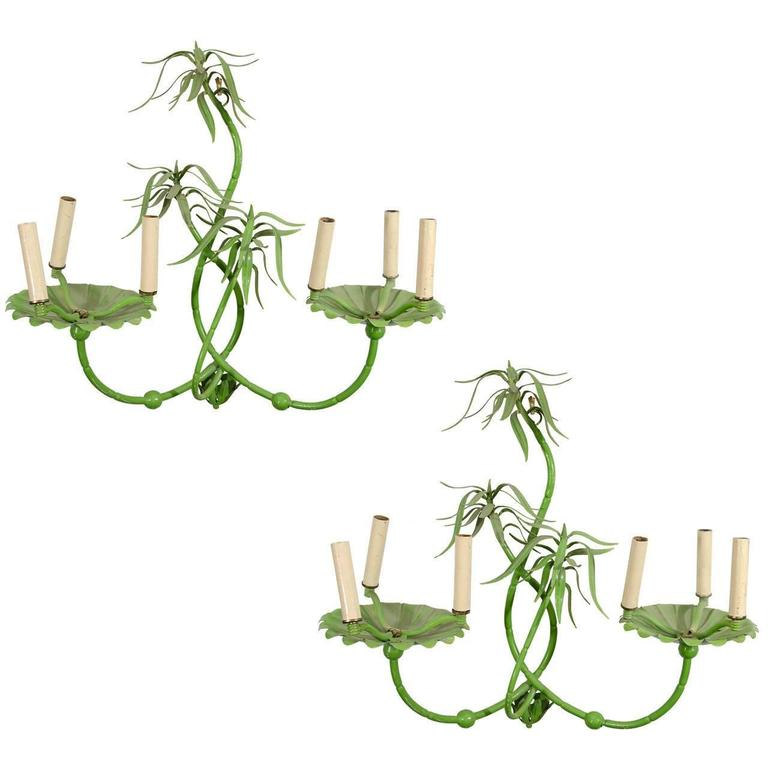 Green Enamel Wall Lights : Exceptional Pair of Tole Italian Bamboo Sconces in Enamel Green at 1stdibs