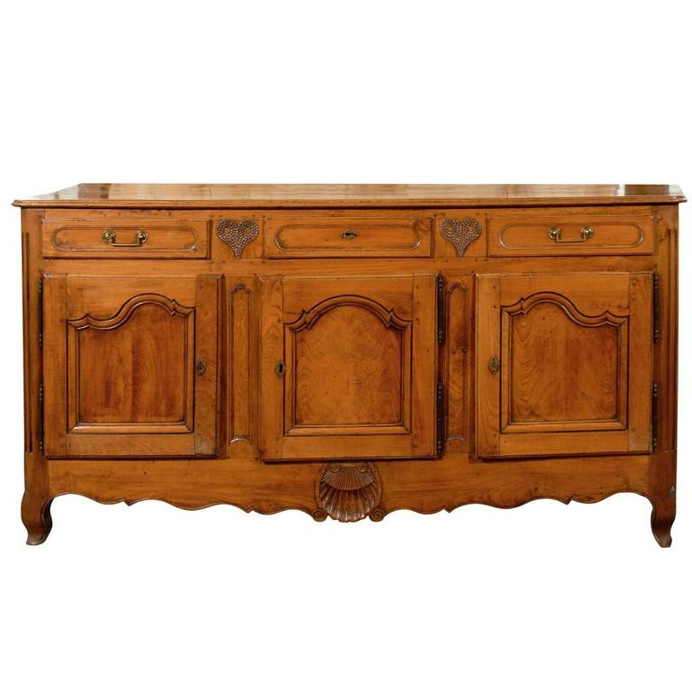 Large 18th Century French Louis XV Fruitwood and Elm Enfilade with Carving