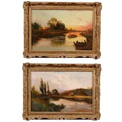 Pair of Gilt Framed Oil on Canvas Landscape Painting, circa 1890