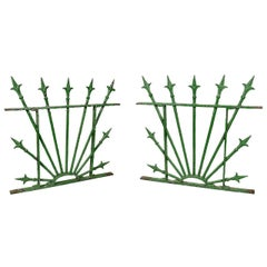 Pair of Green Painted Wrought Iron Fleur-de-lis Window Grates