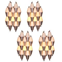 RAAK Two Pairs of Modernist Wall Sconces Holland circa 1955