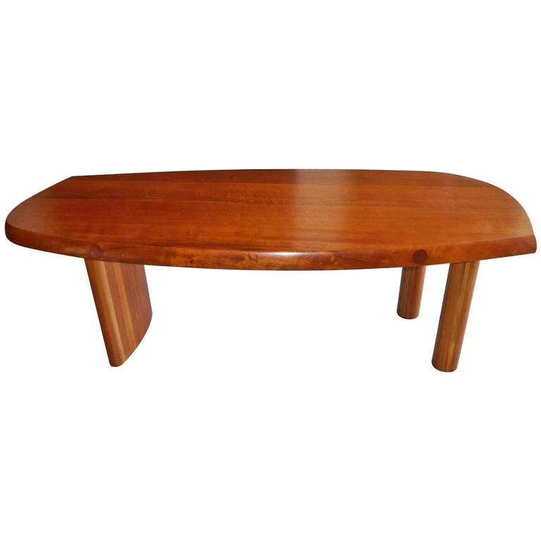 Free-Form Table in Solid Makore Wood, France, circa 1950