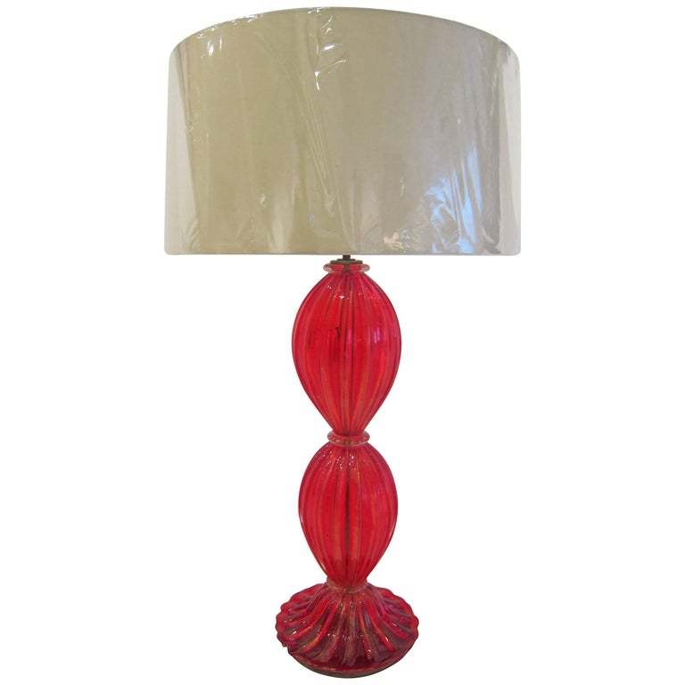 Red Murano Glass Table Lamp by Barovier e Toso