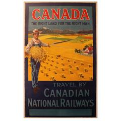"""Vintage Railway Travel Poster """"Canada, the Right Land for the Right Man"""""""