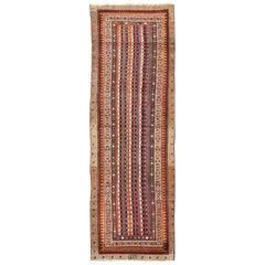Unique Designed Antique Persian  Camel Hair Serab Runner with Vertical Stripes