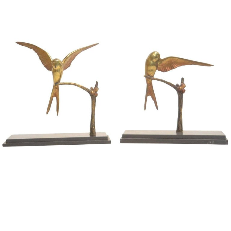 Pair of Patinated Bronze Swallow Sculptures by Georges H. Laurent