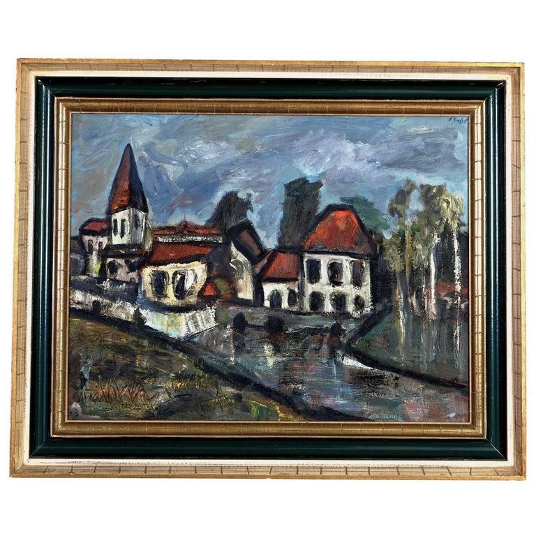 Daniel Bertet Abstract Painting of a French Village  For Sale