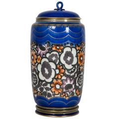Covered Enamelled Porcelain Vase in Sevres Porcelain, 1926