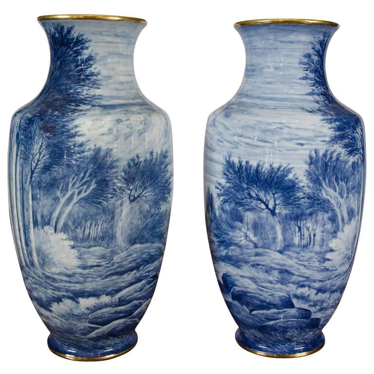 pair of early 20th century french blue and white vases for s