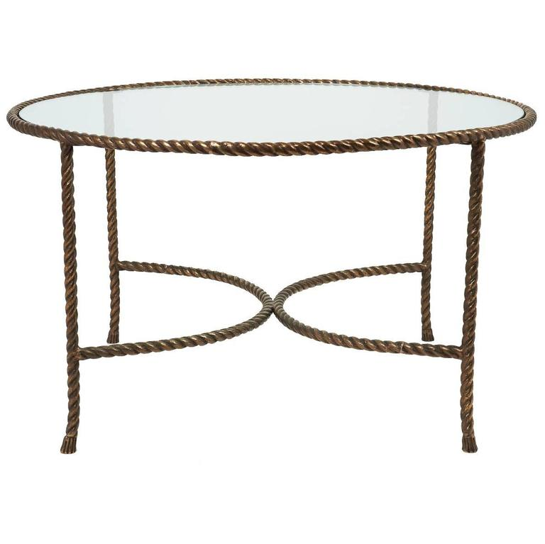 Round Rope Coffee Table Italian Round Solid Bronze 39rope And Tassle39 Cocktail