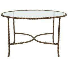 Italian Round Solid Bronze 'Rope and Tassle' Cocktail Table