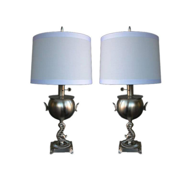 Pair of American Art Deco Brushed Nickel-Plated Lamps 1