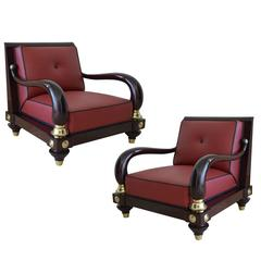 Rare 1950s Octavio Vidales Sculptural Chairs in Lacquered Mahogany and Leather