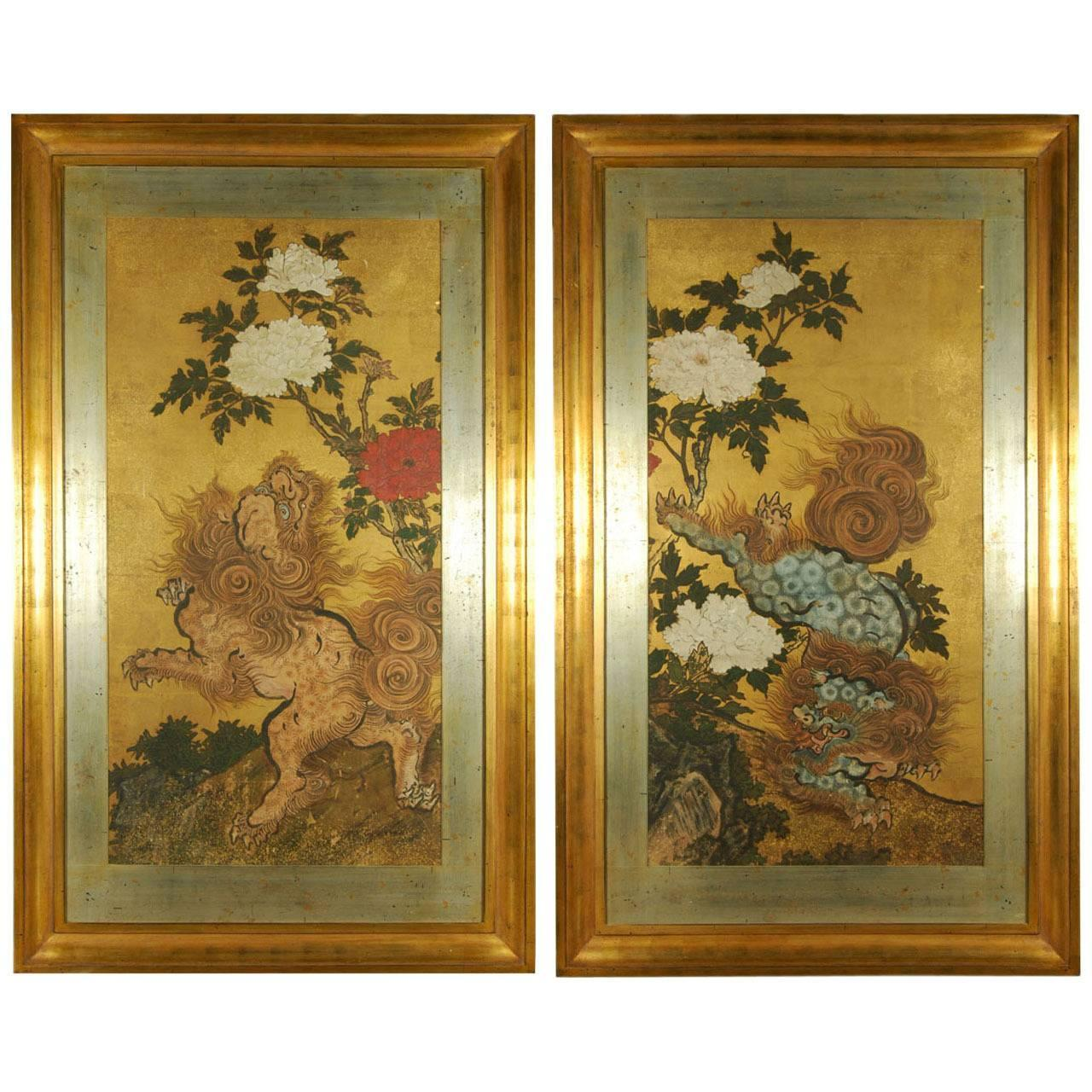 Antique japanese screens for sale - Pair Of Antique Japanese Paintings Of Karashishi Edo Period 18th Century For Sale At 1stdibs