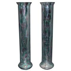 Pair of Hand Blown Murano Glass Vases