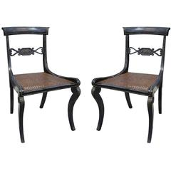 Pair of Regency Style Brass Inlaid Side Chairs, circa 1820