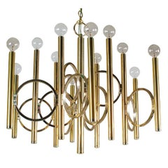 Mid-Century Modern Italian Brass Chandelier by Sciolari, Hollywood Regency