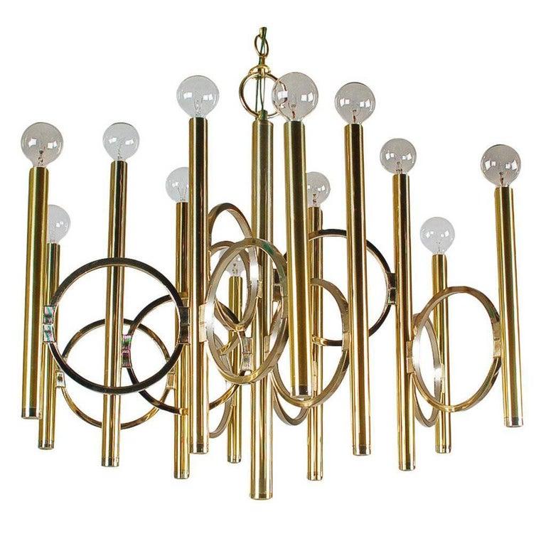 Mid-Century Modern Italian Brass Chandelier by Sciolari, Hollywood Regency For Sale