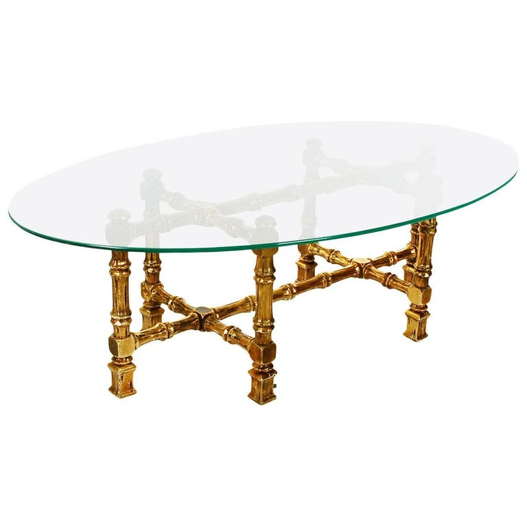 Hollywood Regency Giltwood and Oval Glass Coffee Table 1
