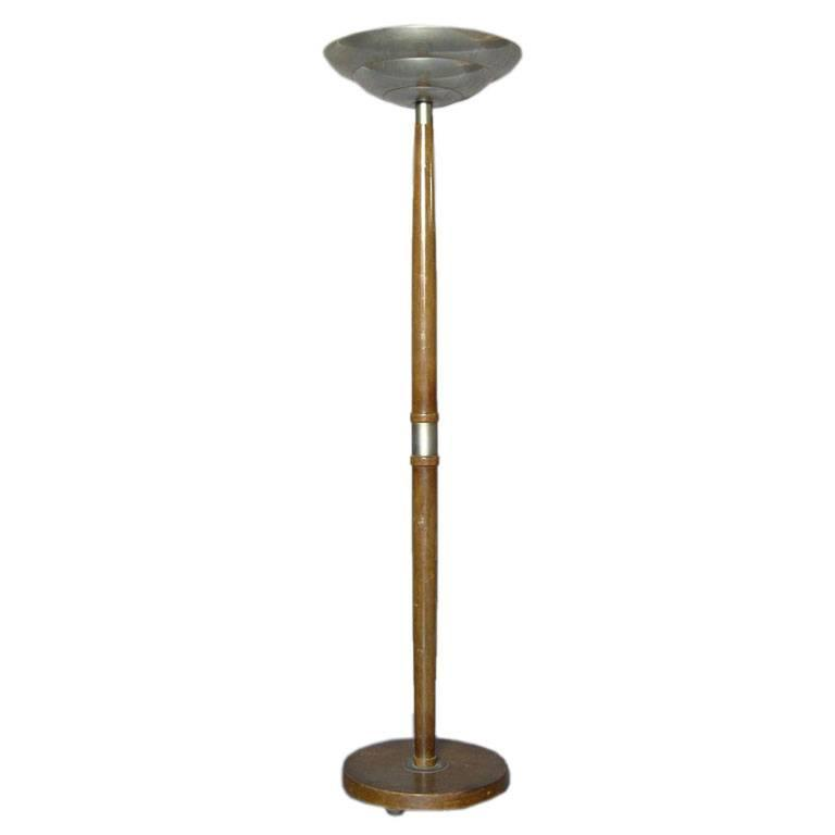 French Art Deco Wood And Metal Floor Lamp For