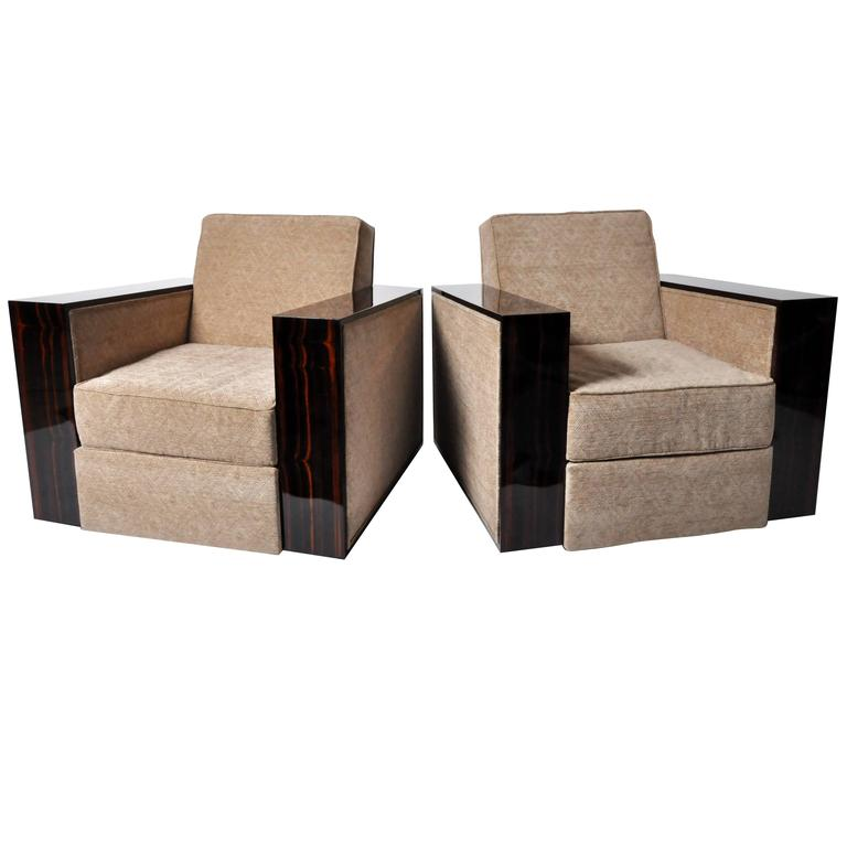 Hungarian art deco style lounge chairs at 1stdibs for Art deco style lounge