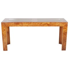 Mid-Century Modern Burl and Brass Desk Sofa or Console Table After Milo Baughman