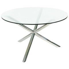 Mid-Century Modern Chrome Jax Tripod Dining Table after Milo Baughman