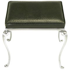 Polished Aluminum Cabriole Leg Bench with Ostrich Embossed Leather