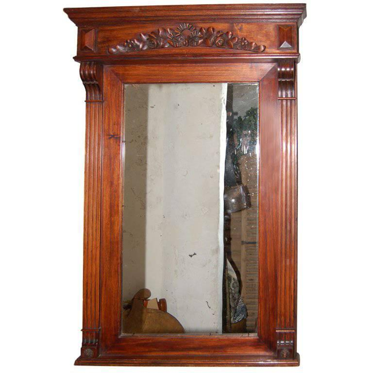 ON SALE   Mirror with Carved Wood Garland Late 19th Century Oak
