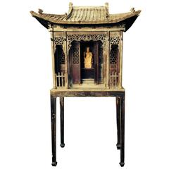 Chinese Important Antique Hand carved Wooden Shrine, Qing dynasty 1644-1912