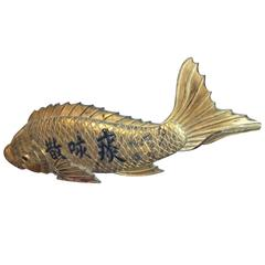 Japanese Monumental Antique Hand carved Hand  Gilt KOI Fish Sign Kanban,19c
