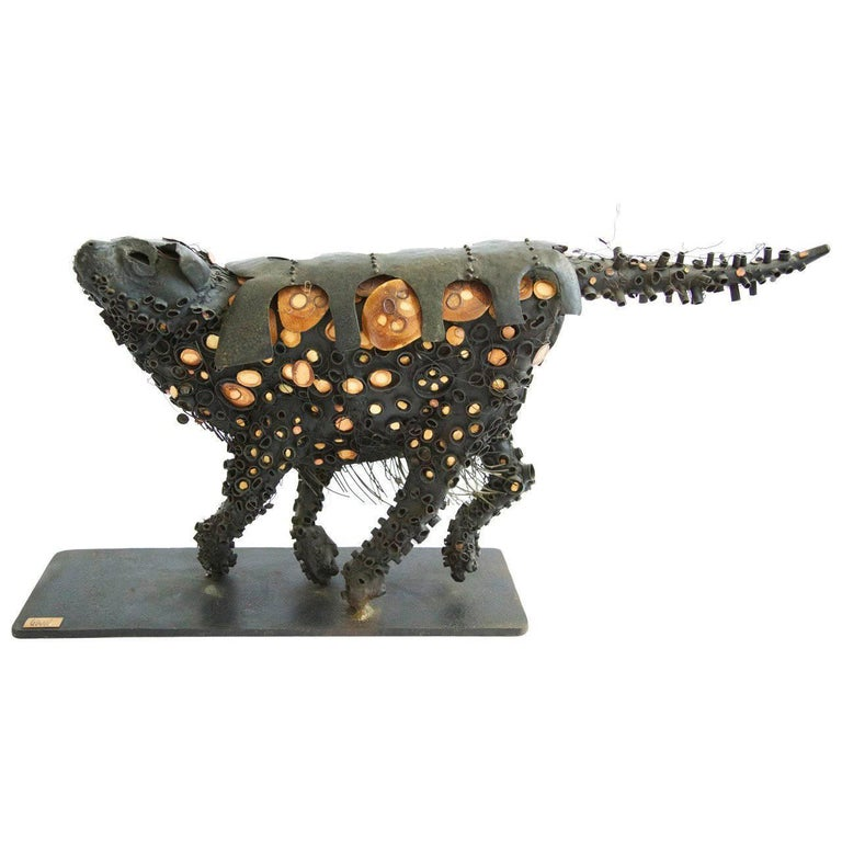 Brutalist Black Cat Sculpture 1