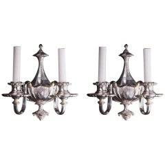 1910 Pair of Neoclassical Style Two-Light Sconces with Urn Handle Details