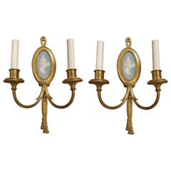 1900 Pair of Sterling Gilded Bronze Louis XVI Two Candle Sconces with Cameos