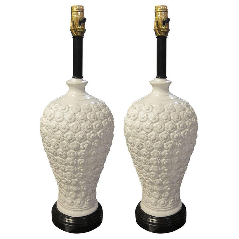 1930s Pair of French Made Chinoise Style White Porcelain Table Lamps