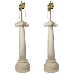 1910 French Pair of Neoclassical Style White Porcelain Table Lamps