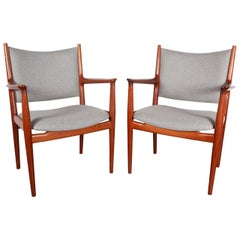 Pair of Hans Wegner JH-513 Teak Armchairs by Johannes Hansen for Knoll