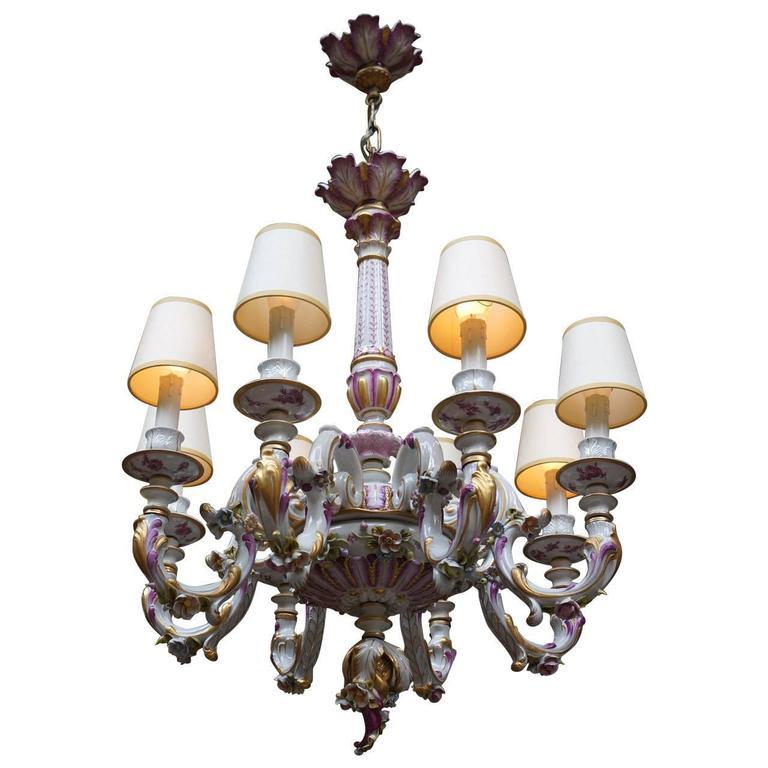 Capodimonte Italian Porcelain Eight-Light Chandelier
