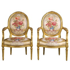 Fine Pair of Mid-19th Century French Giltwood Armchairs