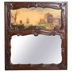 19th Century Overmantel Trumeau with Original Oil Painting on Canvas
