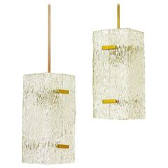 Rare Pair of Modernist Textured Glass and Brass Pendants by J.T. Kalmar